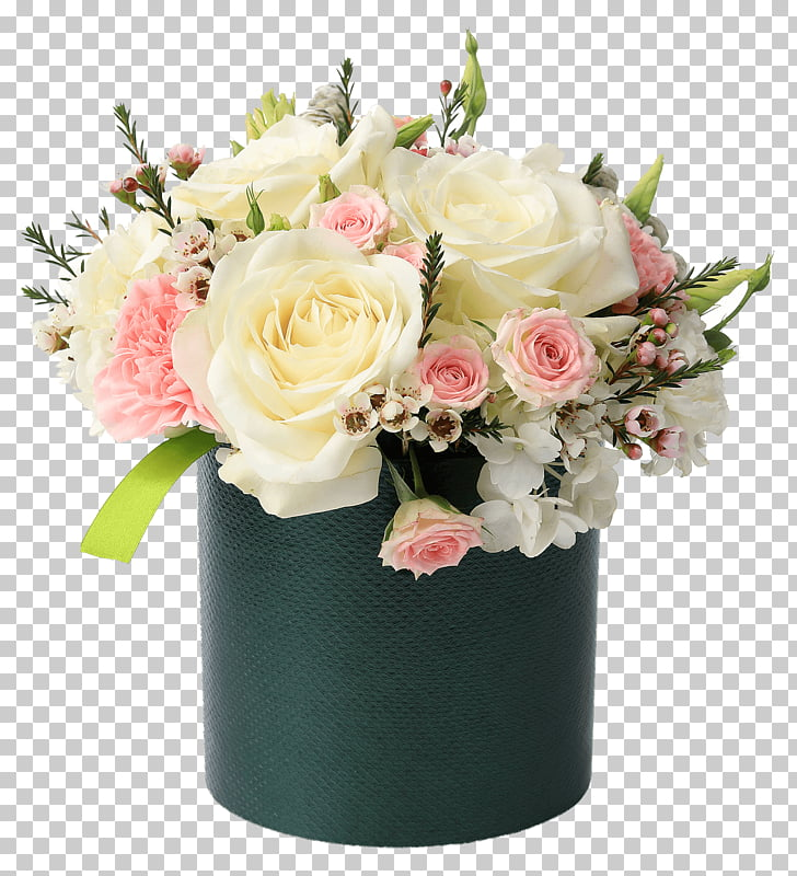 Arreglo floral amarillo y blanco, caja de flores cesta.