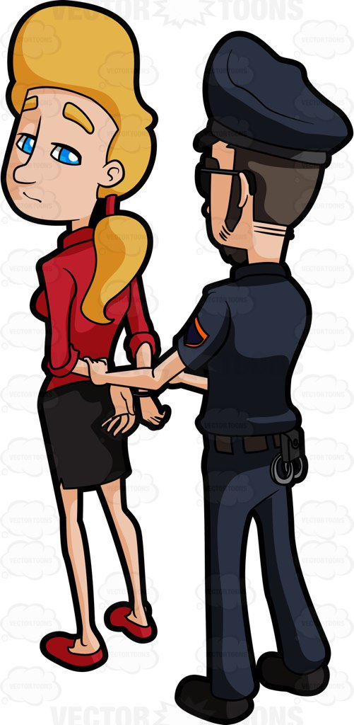 Woman Being Arrested Clipart.