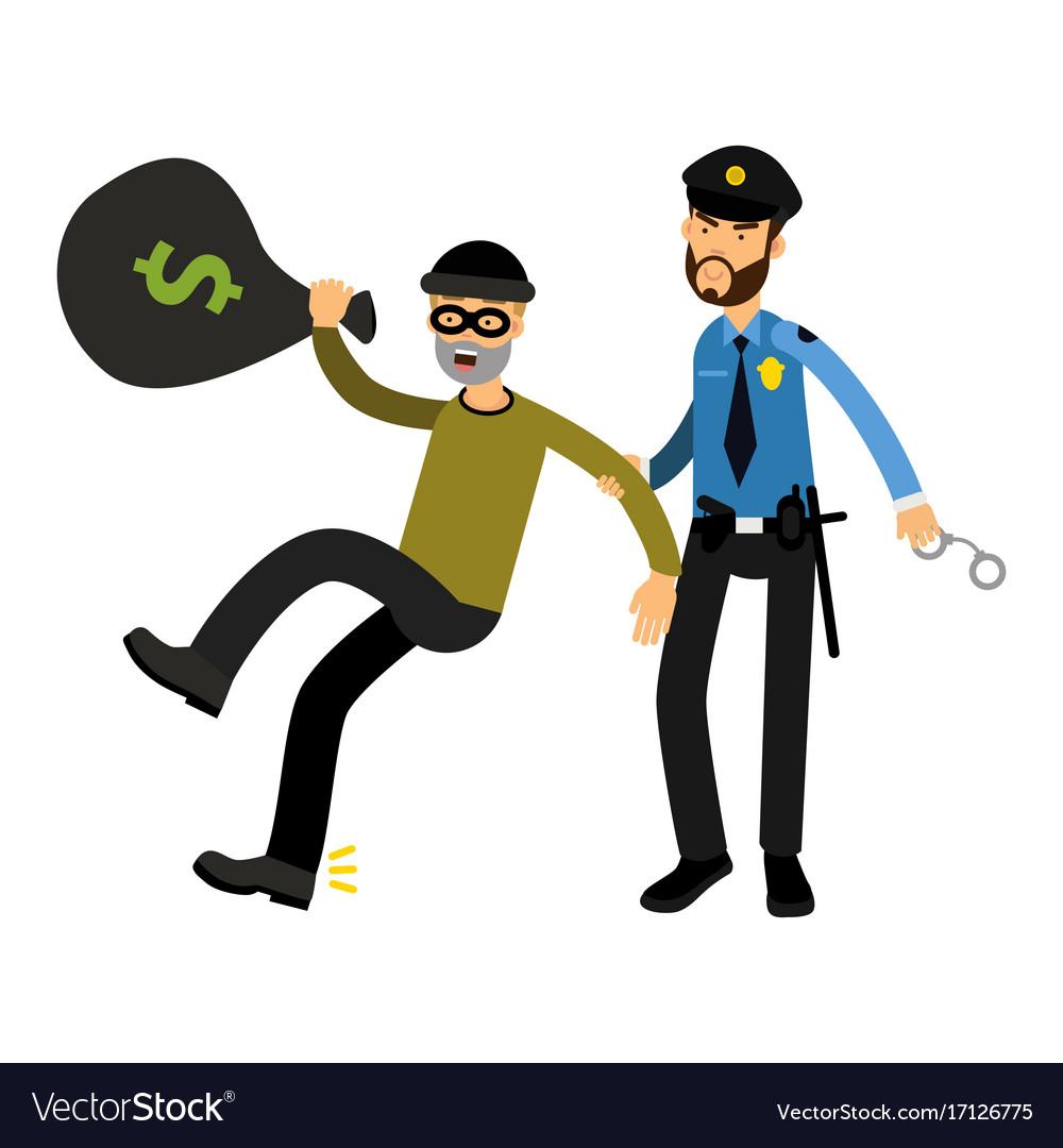 Police officer character arresting robber.