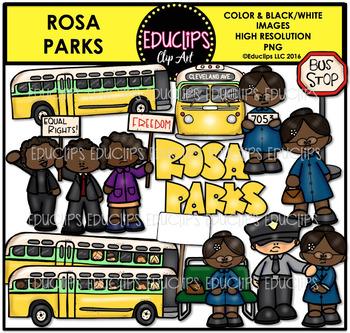 Rosa Parks Clip Art Set {Educlips Clipart}.