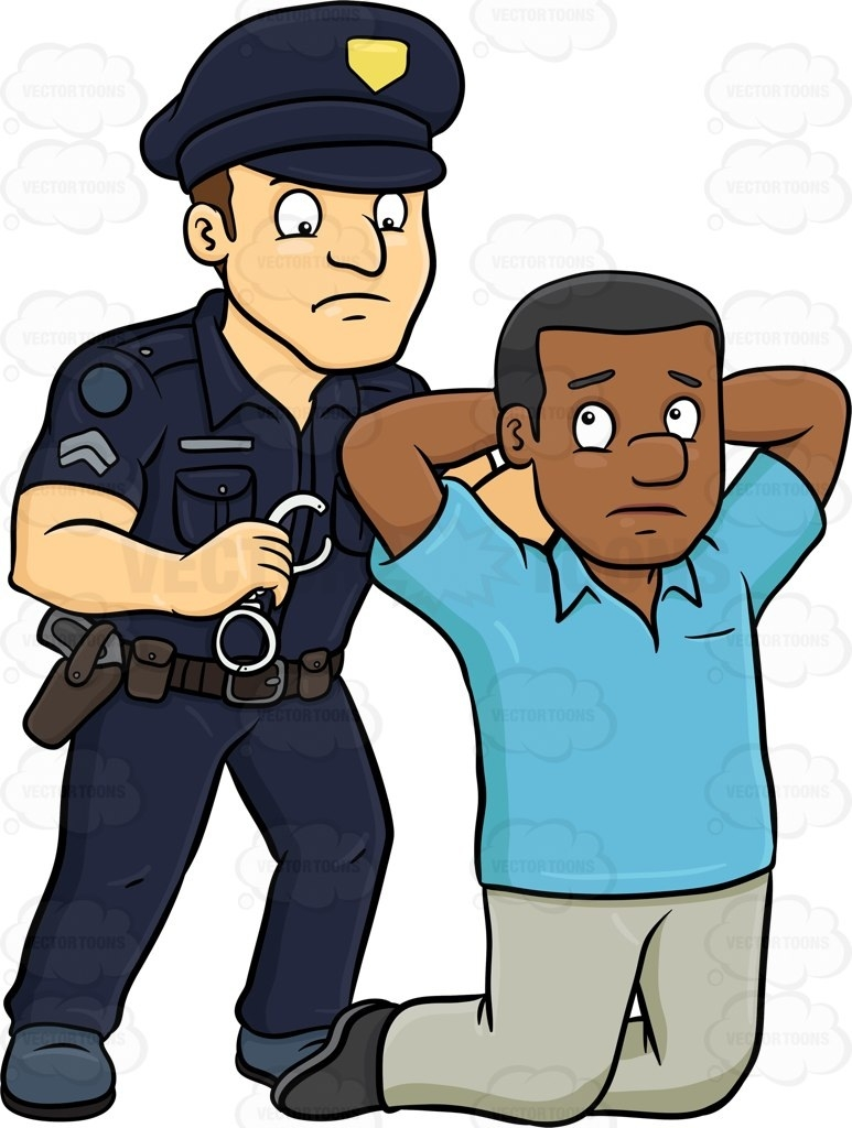Black Man Getting Arrested Clipart.