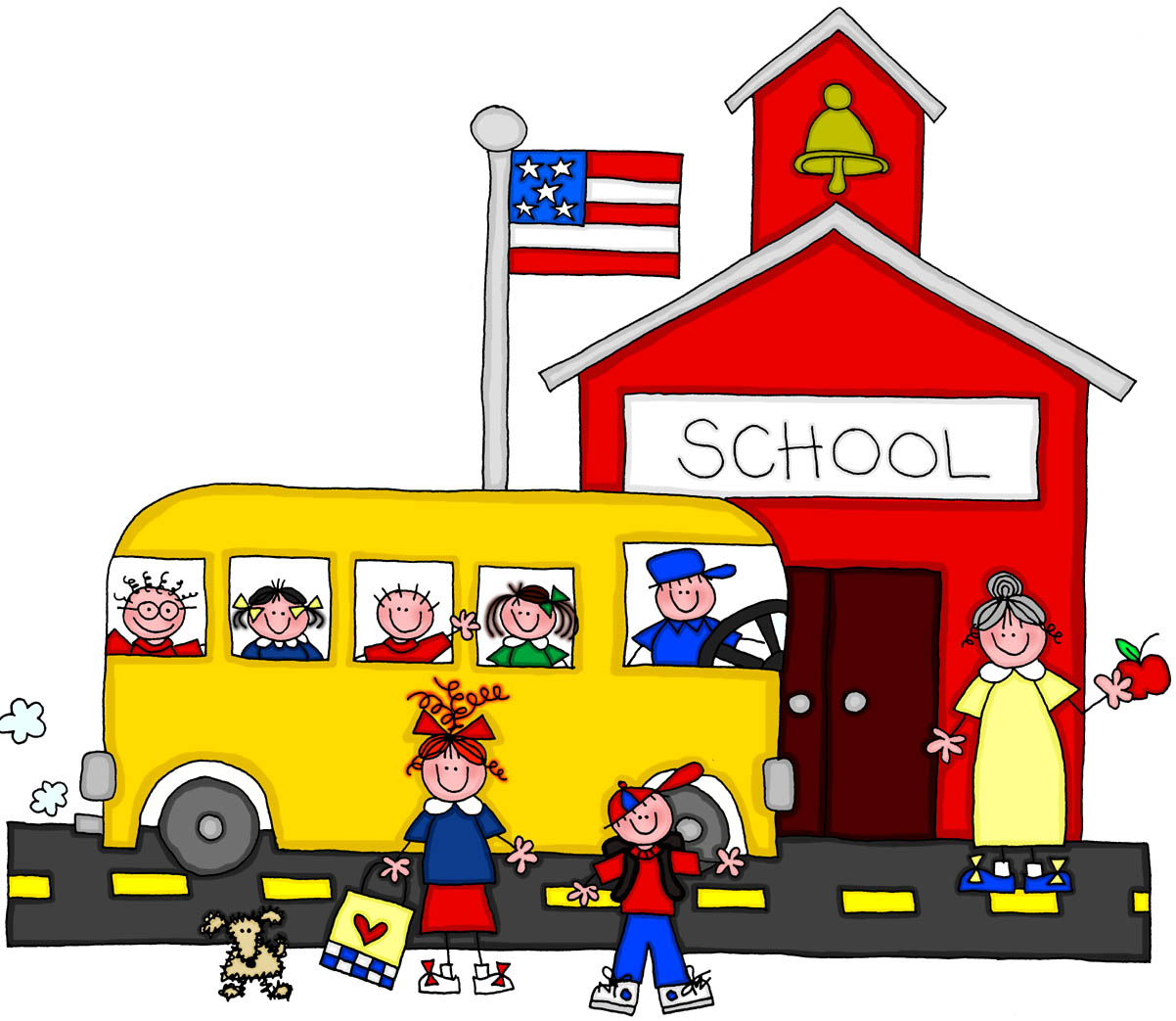Arriving At School Clipart.