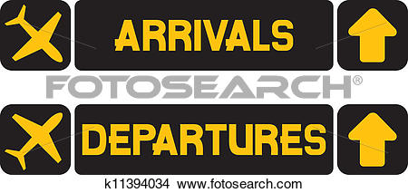 Clipart of arrival and departures airport sign k11394034.