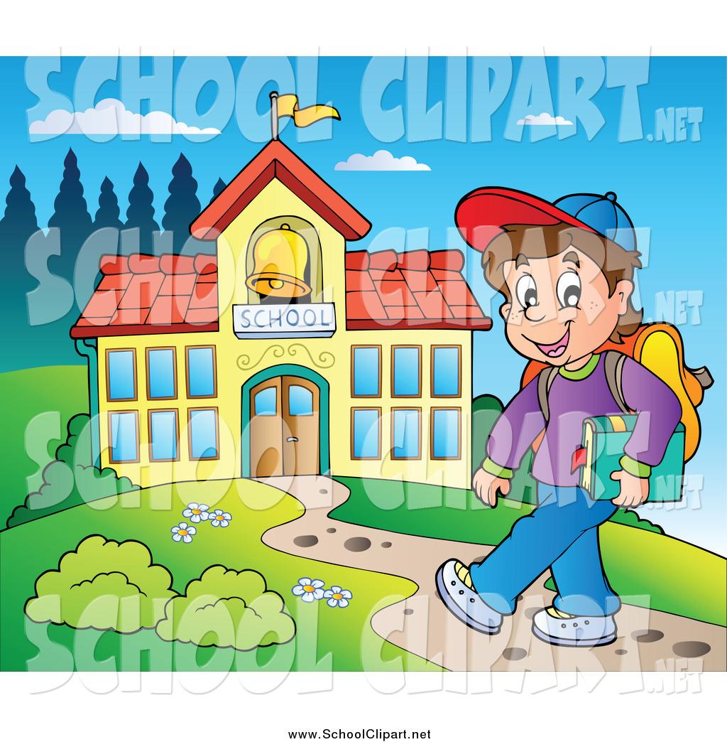 Boy Walking To School Clipart.