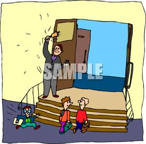 Arriving to class on time clipart.