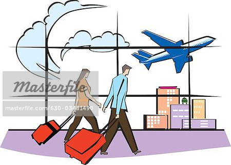 People arriving at airport clipart.