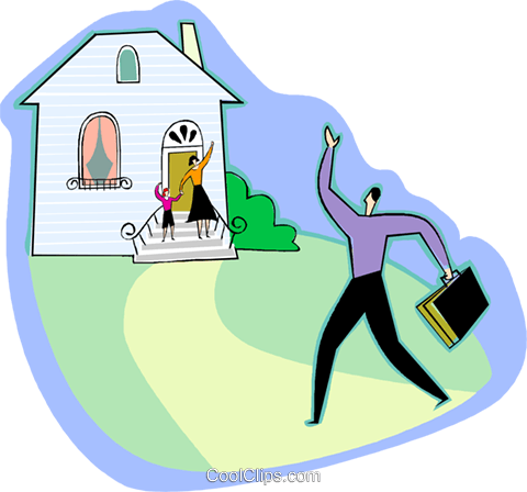 Father arriving home Royalty Free Vector Clip Art.
