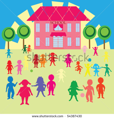 Children Arrive School Clipart.