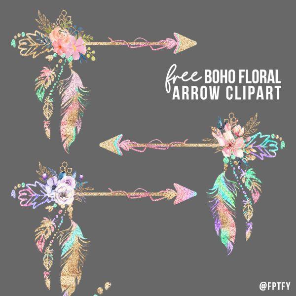 Free Boho Floral Arrow Clipart.