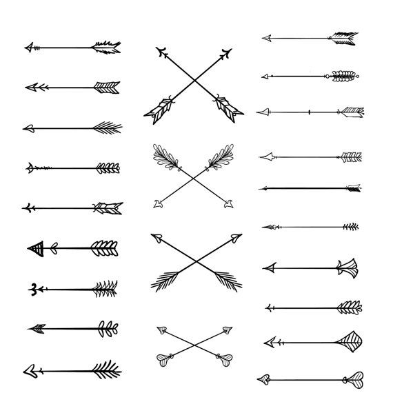 Doodle Tribal Arrows Clipart: 23 vector arrows.