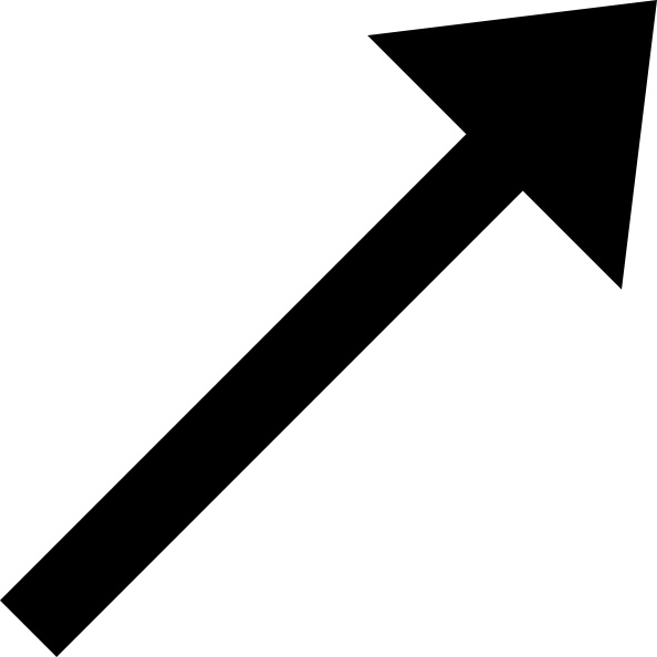 Up Right Black Arrow clip art Free vector in Open office drawing svg.