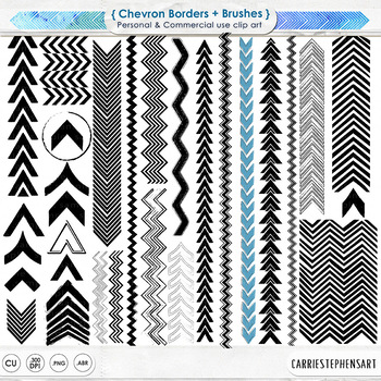 Chevron Border Clip Art, Directional Arrow Borders, Page Accent Graphics.
