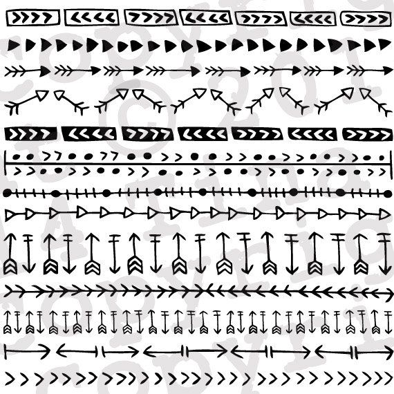 Arrow Border Clipart, Boho Clipart, Tribal Arrows Clipart, Tribal.
