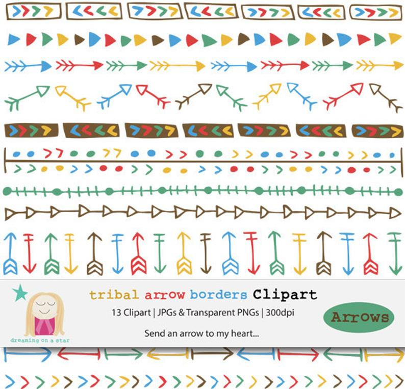 Border Clipart, Tribal Arrows Clipart, Arrow Border Clipart, Boho Clipart,  Tribal Clip Art, Arrow Clip Art, Tribal Clip art, Commercial Use.