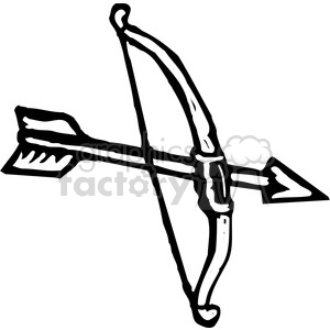 black and white bow and arrow clipart. Royalty.