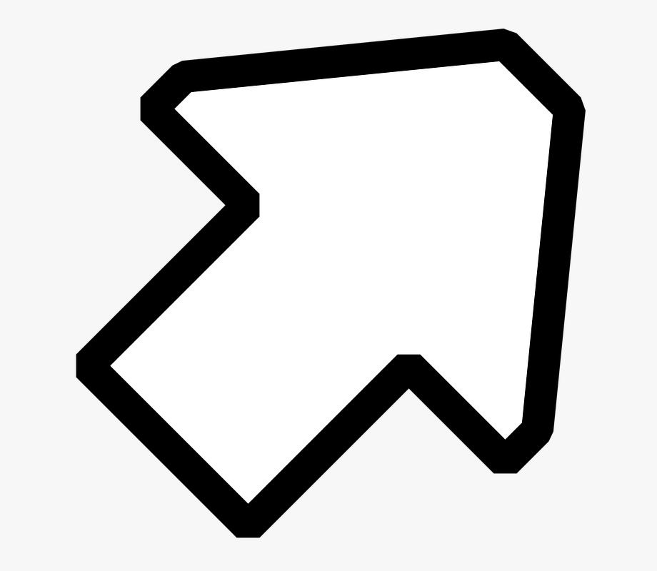 Black White Up Right Arrow Clip Art Free Svg Vector.