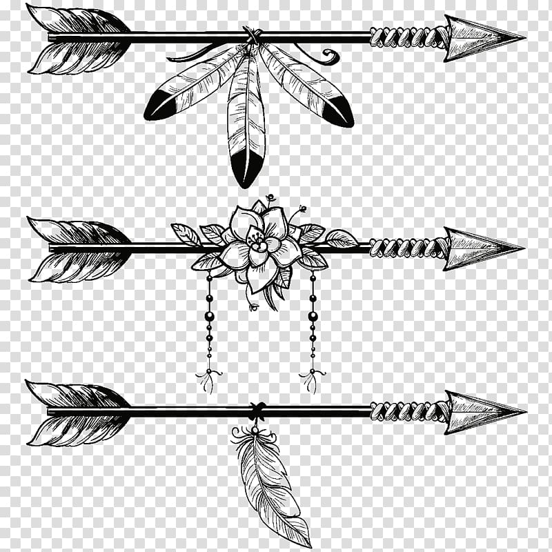 Three arrows illustration, Boho.