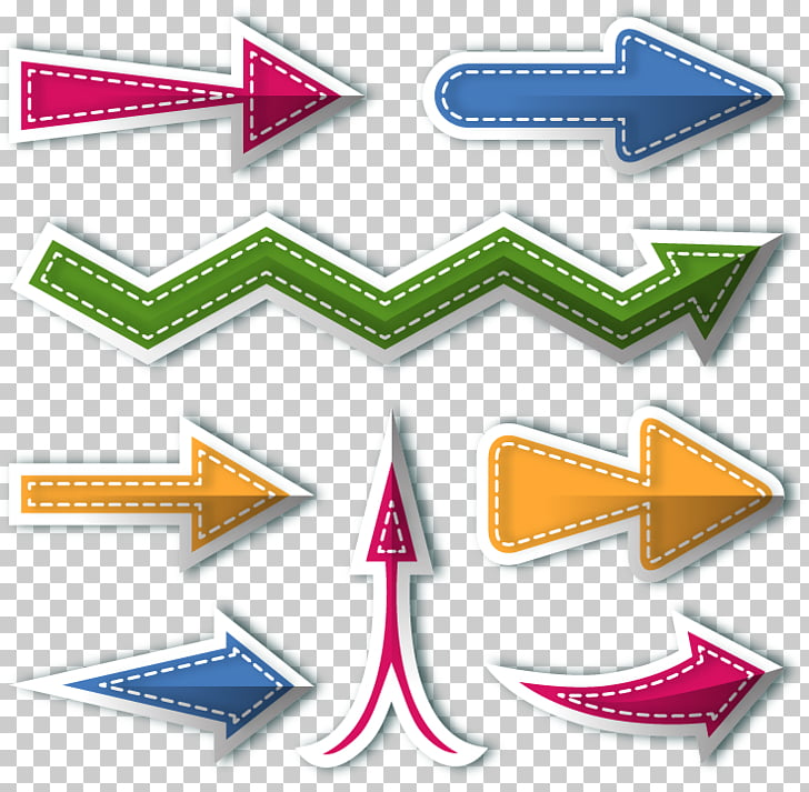 Arrow Sticker, flat colored arrows indicate PNG clipart.