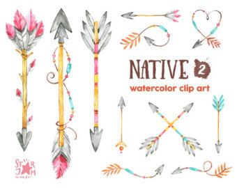 Sacred Wreaths. Watercolor Clipart. Native, tribal, feathers.