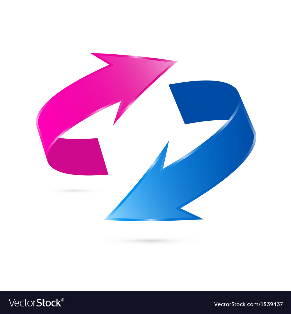 Pink and Blue Arrows Isolated on White background.
