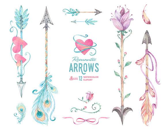Romantic Arrows Watercolor Clipart. 12 Hand painted elements.