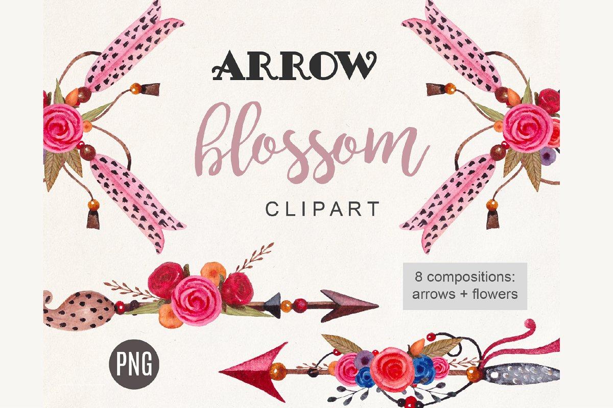 Arrow Clipart Boho Watercolor Tribal.