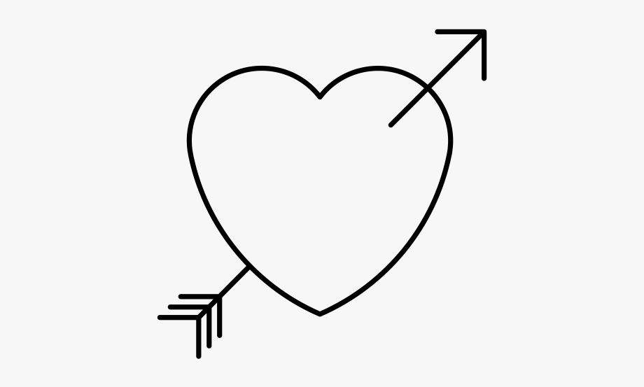 Black And White Heart With Arrow, Cliparts & Cartoons.