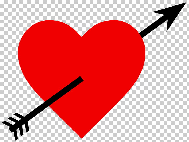 Heart Arrow Love , Penetrated love PNG clipart.