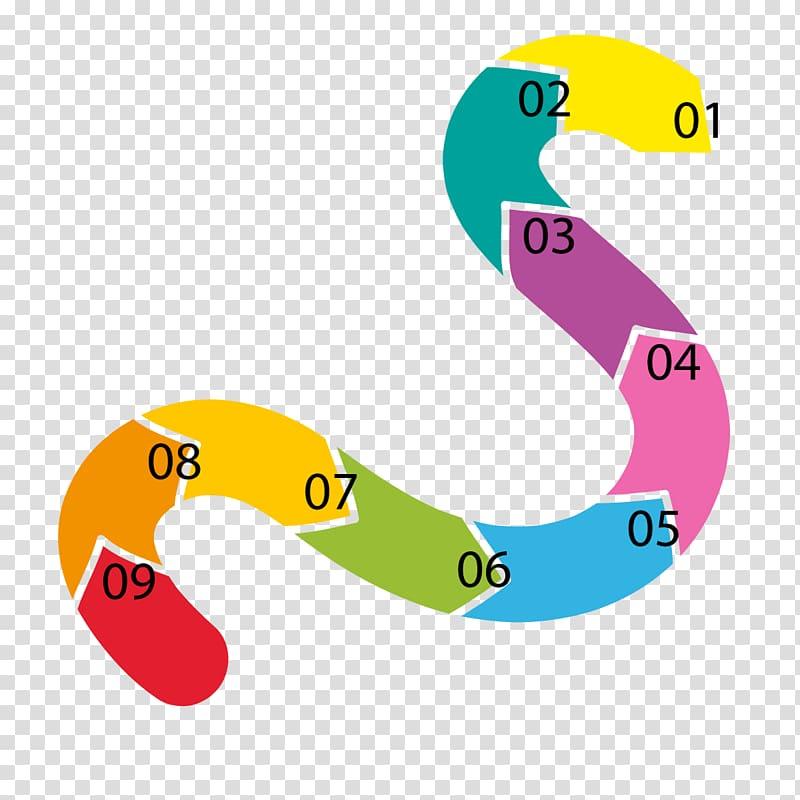 Timeline Curve, curved arrow PPT transparent background PNG.