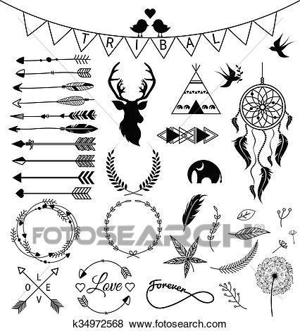 Hand drawn arrows Tribal designs Clip Art.