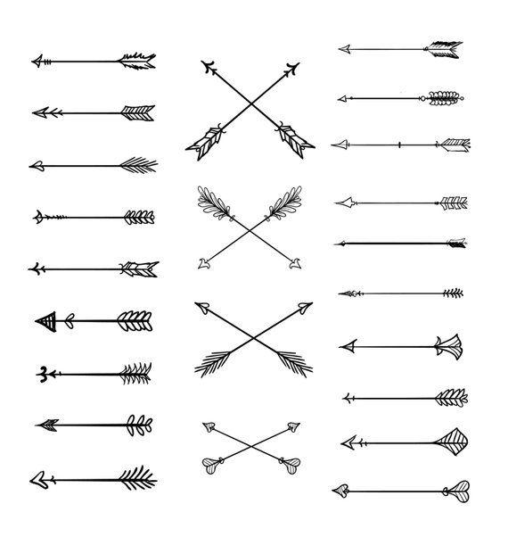 Doodle Tribal Arrows Clipart: 23 vector arrows.