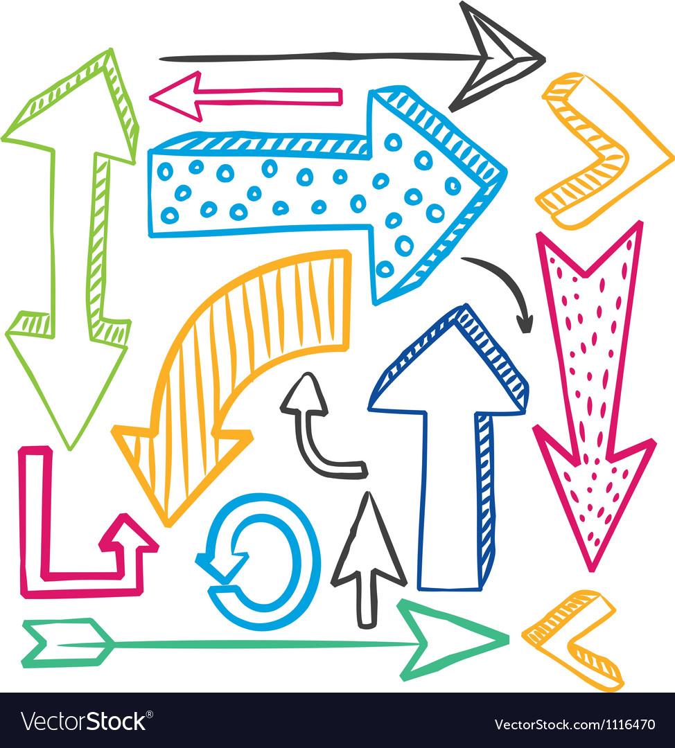 Set of colorful arrow doodle.