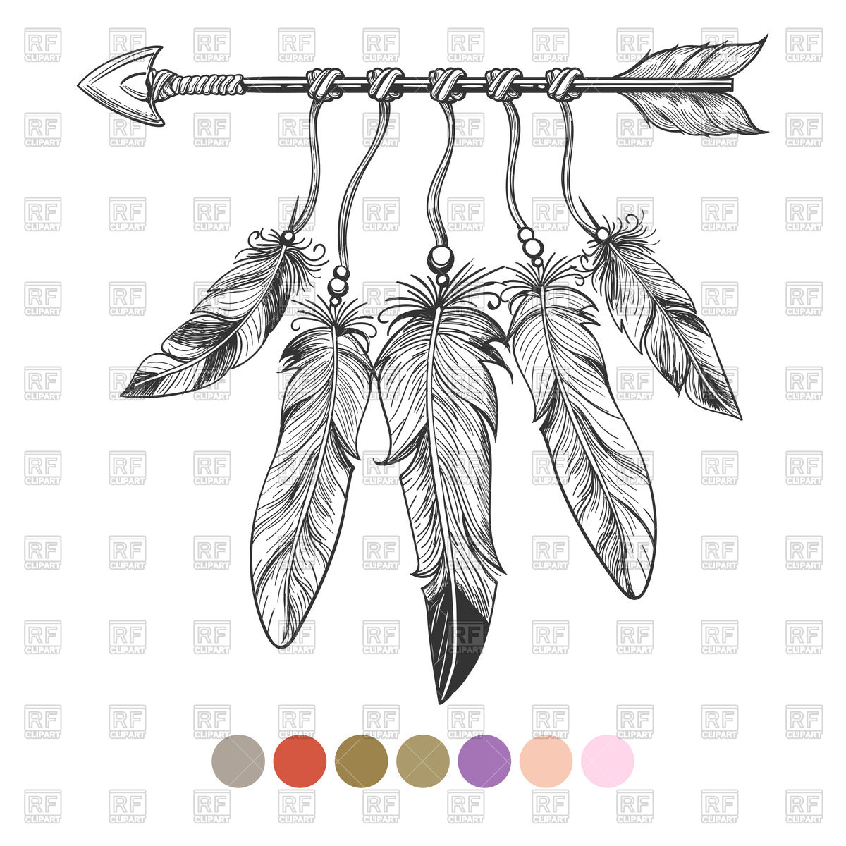 Arrow With Feather Clipart.
