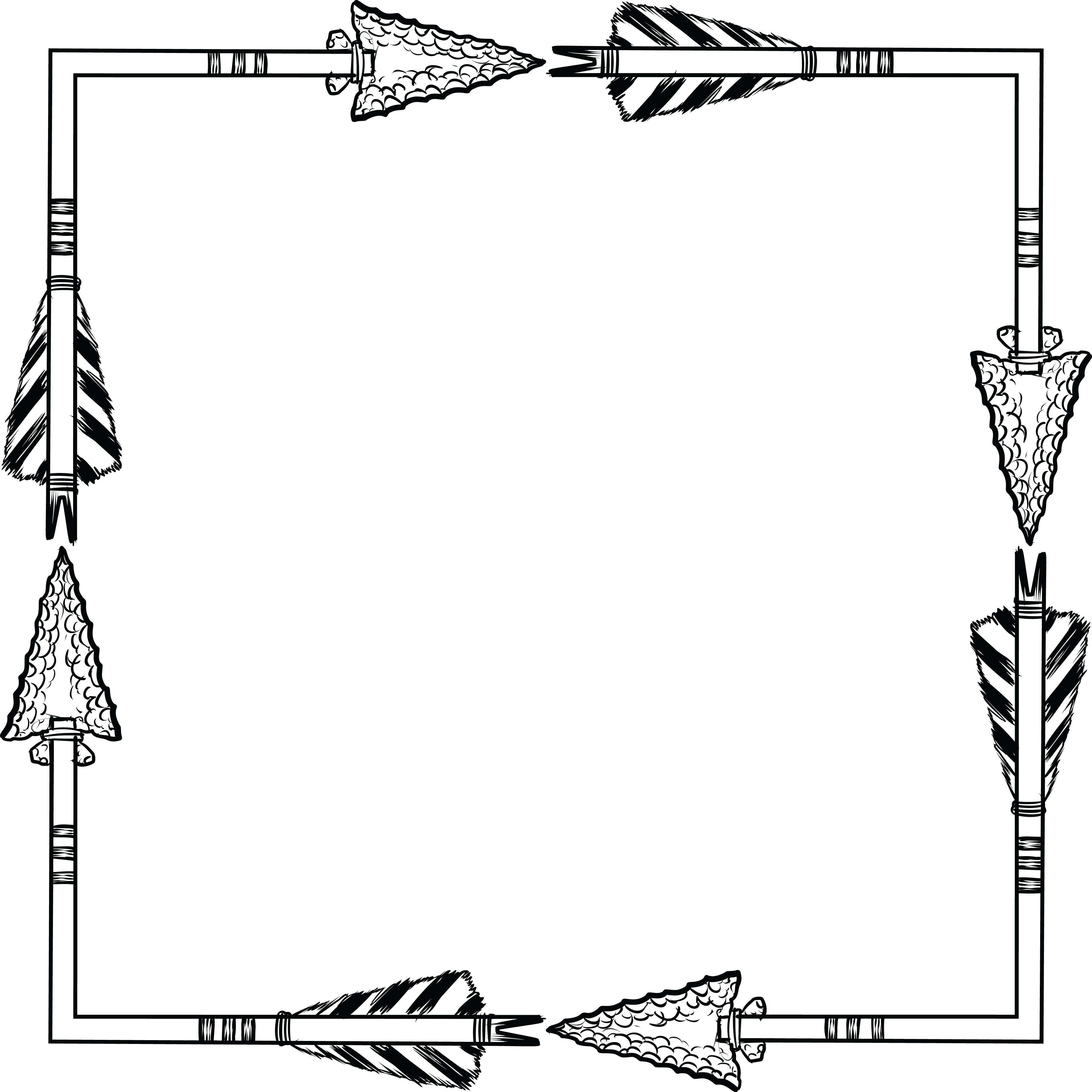 Free Clipart of a flint arrow square shaped frame.