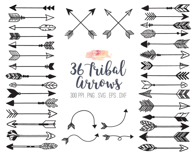 BUY 2 GET 1 FREE 36 Tribal Arrow Svg Dxf Eps Vector Etsy Awesome.