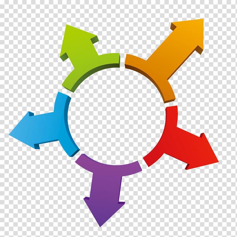 Round multicolored arrow logo art, Arrow 3D computer.