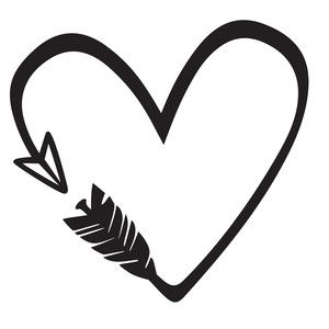 Black And White Heart And Arrow Clipart.