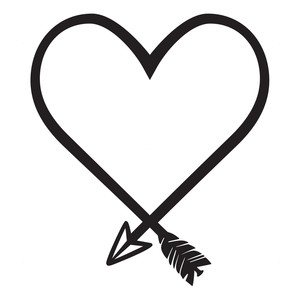 Silhouette Design Store: heart shaped arrow.