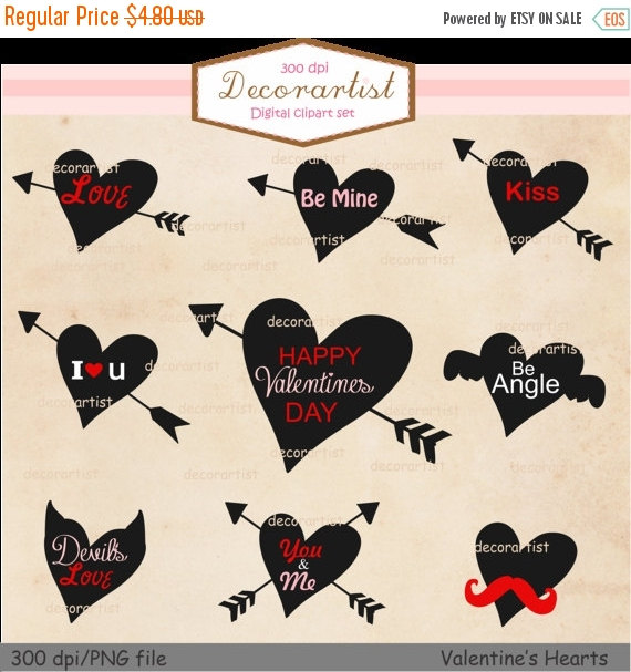 ON SALE Valentien's clipart, black hearts clipart , hearts and.