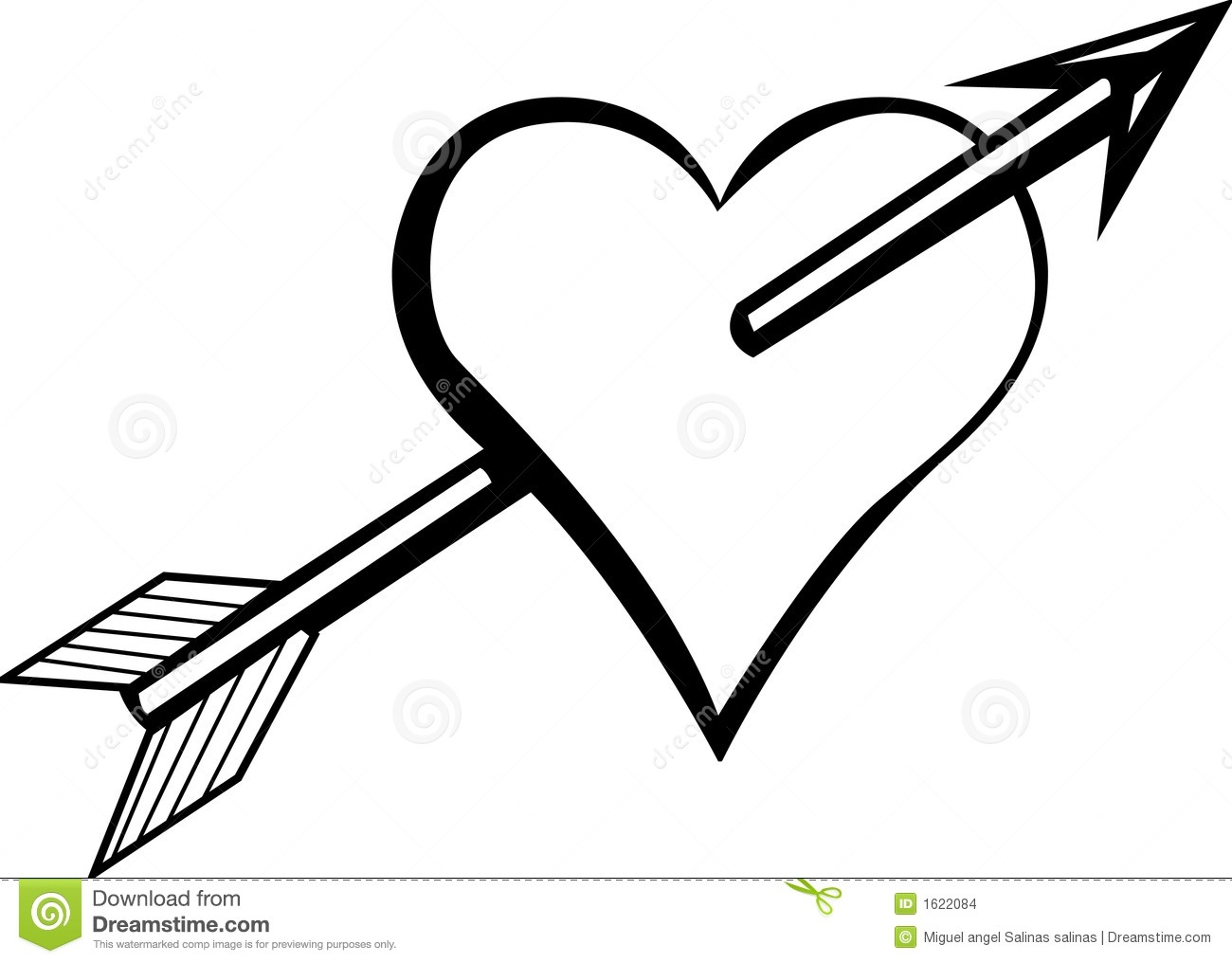 arrow heart clipart black and white for silhouette