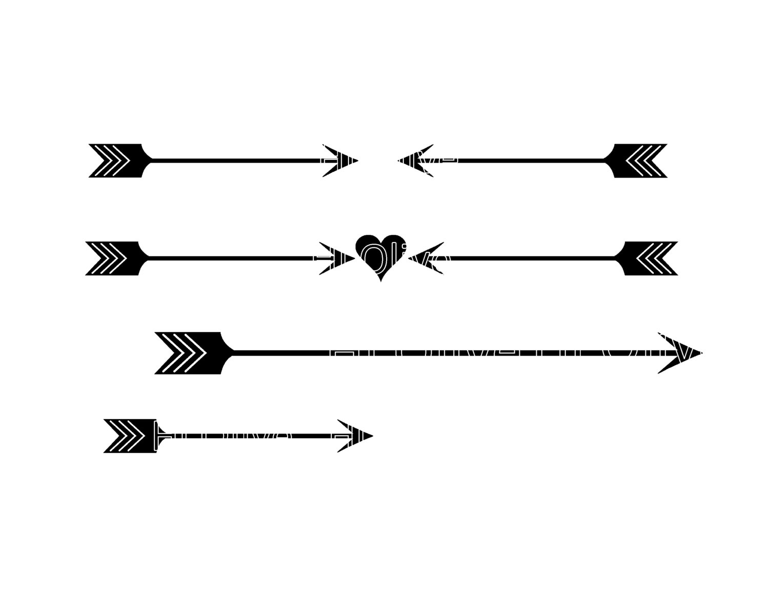 SVG heart and arrow silhouette clip art, valentines day clip art.