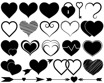 Hearts Clipart Vector Clip Art Heart Silhouette Scrapbooking Icons Invitations Logo Design Wedding Valentines