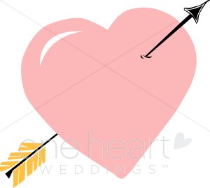 Clipart Pink Heart with Arrow.