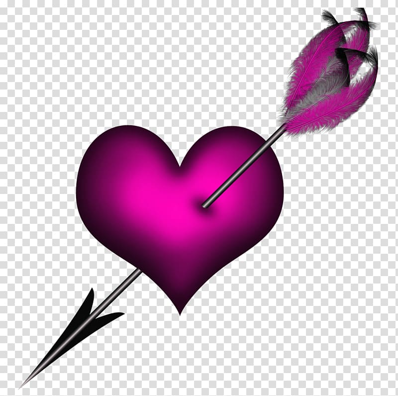 Heart, Pink Heart with Arrow transparent background PNG.