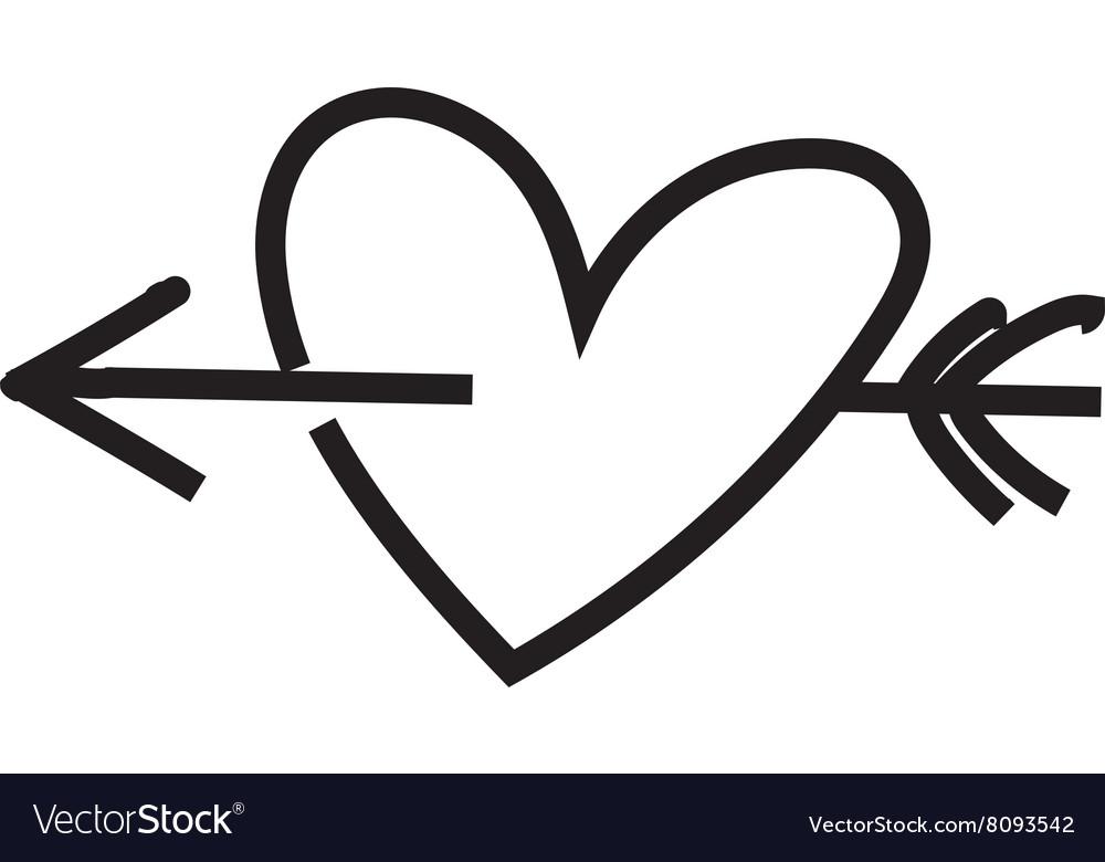 Minimalist heart with arrow.