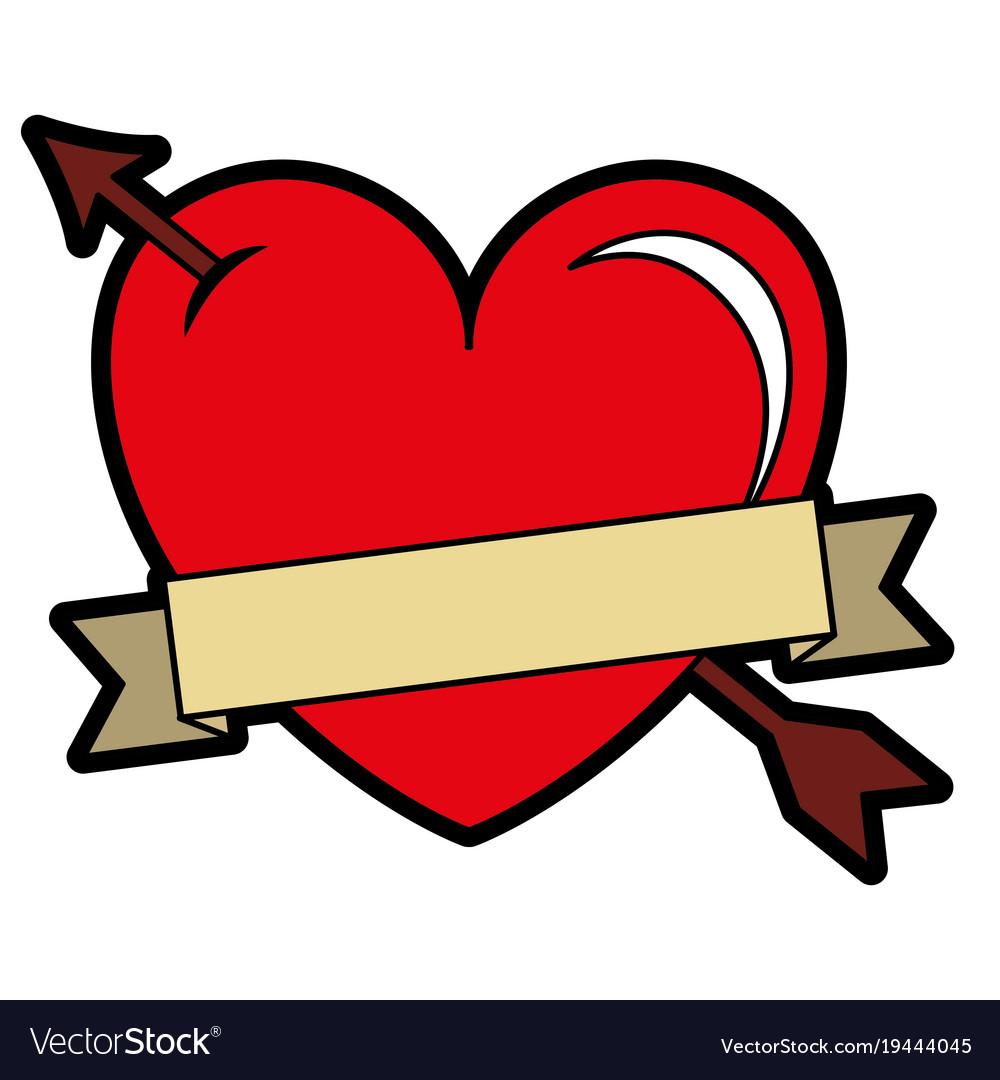 Heart love with arrow and ribbon.