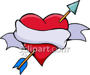 Heart With Ribbon and Arrow.