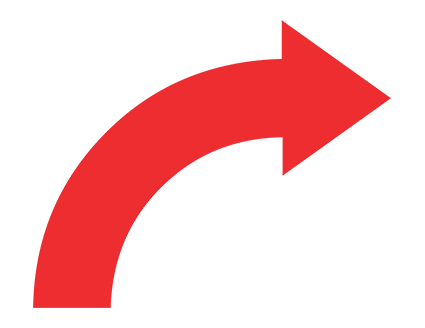Red Curved Up Right Arrow PNG.