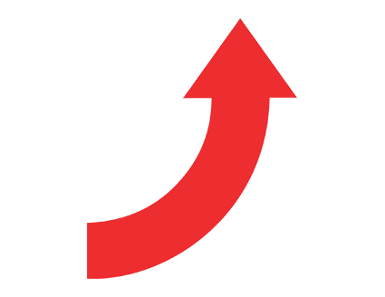 Red Curved Up Arrow PNG.