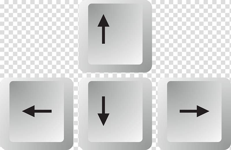 Grey arrow keys art, Keyboard arrow keys transparent background PNG.
